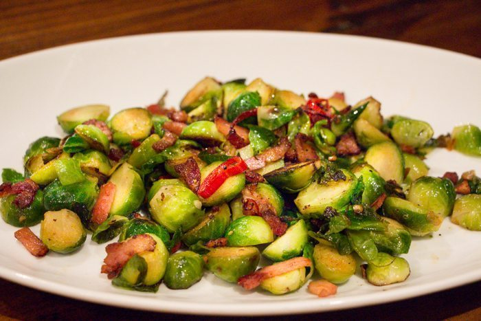 Brussel Sprouts with Chilli, Garlic and Bacon
