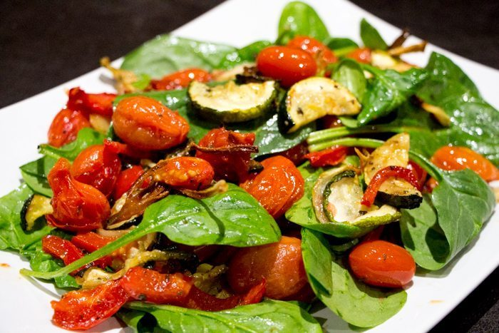 Warm Roasted Tomato, Zucchini and Capsicum Salad