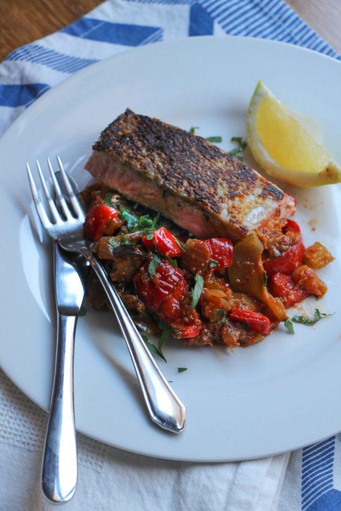 Crispy Skin Salmon with Italian Style Ratatouille