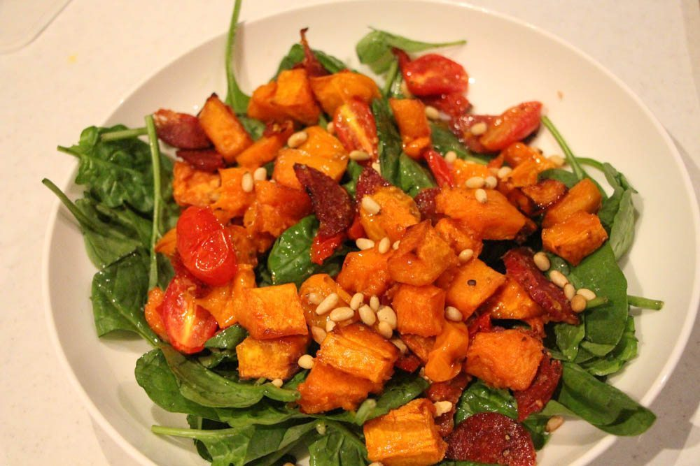 Roasted Pumpkin, Tomato, Salami and Pinenut Salad