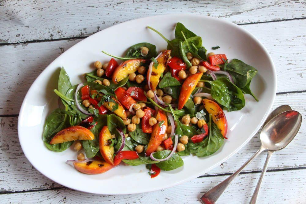 Grilled Nectarine, Capsicum and Chickpea Salad