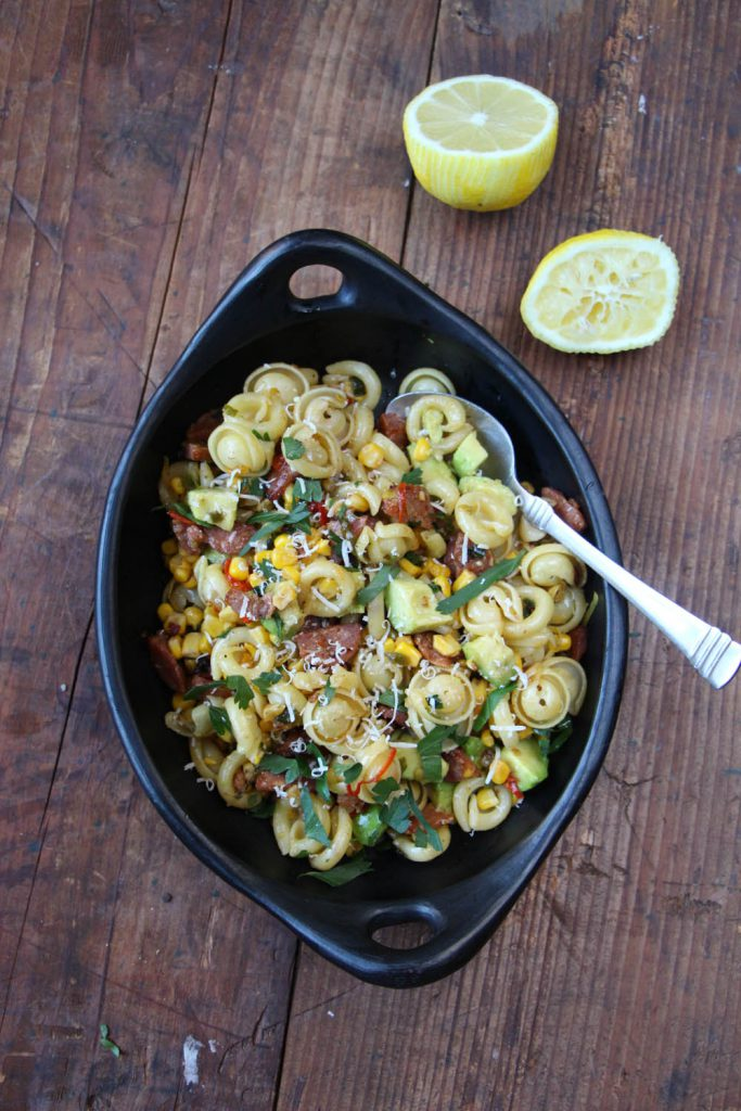 Orecchiette with Corn, Chorizo and Avocado