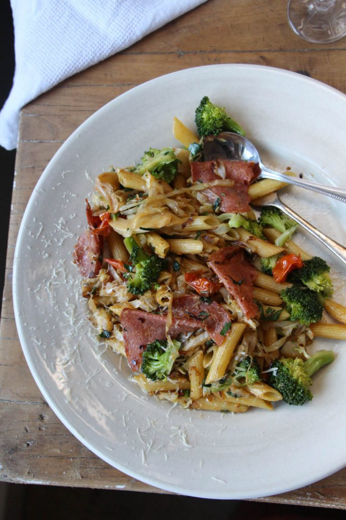Penne with Cabbage, Broccoli, Blistered Tomatoes and Salami