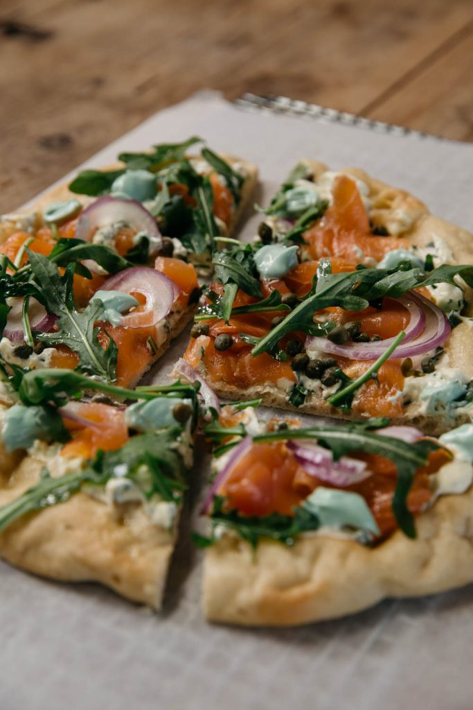Smoked Salmon, Mascarpone and Wasabi Pizza