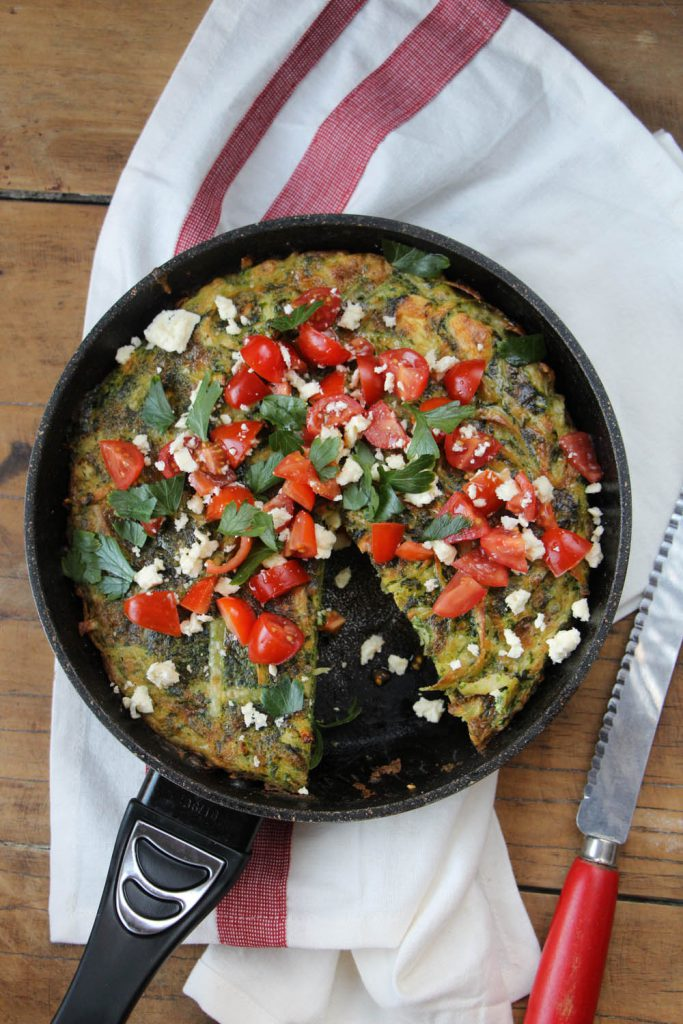 Spaghetti Frittata with Tomatoes and Feta
